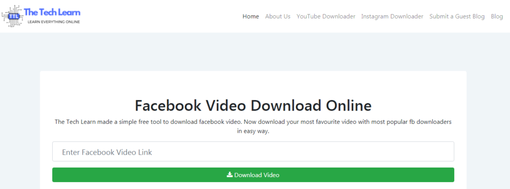 The Tech Learn best facebook video downloader tool online